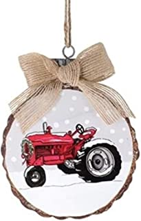 S&C Farmhouse Vintage Red Tractor Disc Ornament for Christmas Tree, 5