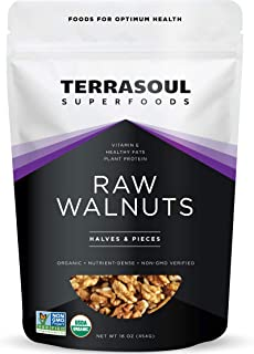 Terrasoul Superfoods Raw Organic Walnuts, 16 Oz - Chandler Variety | Fresh | Light Color