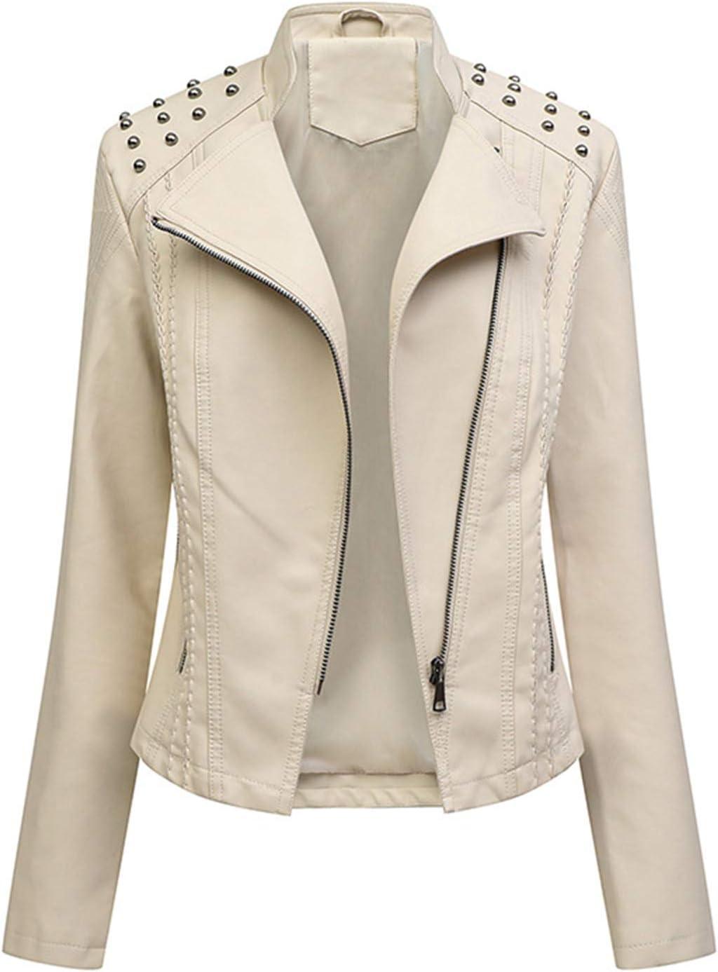 Women's PU Leather Jacket, Faux Moto Biker Slim Fit Jacket with Zip Pockets, Outwear Vintage Short Coat for Autumn, Spring