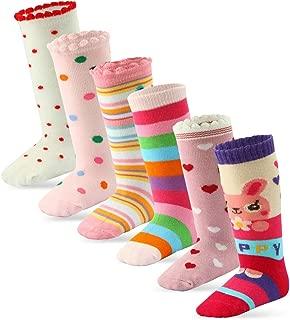6 Pairs Toddler Girl Knee High Grips Socks, Baby Socks Girl School Socks Anti Slip for Kids Random Designs