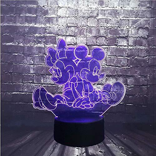 Mickey Minnie Mouse (Mickey y Minnie) 3D Illusion Lamp,3D LED Luz Nocturna para Niños, 7 Colores Cambian con Control Remoto, Regalos para Niños Niñas