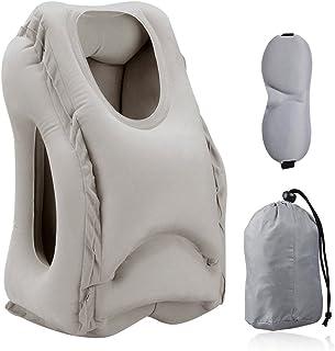 Almohadas de Viaje, HOMCA Multi-Funcional Inflable Almohadilla de Siesta cómodo cojín de Viaje con máscara de Ojo para Aviones, Coches, autobuses, Trenes (Gris)