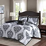 Comfort Spaces Coco 3 Piece Comforter Set Ultra Soft Printed Damask Pattern Hypoallergenic Bedding, Twin/Twin XL(66'x90'), Black