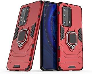 جراب متوافق مع Huawei P40 Pro+، حامل معدني ذو قبضة دائرية مضاد للصدمات (يعمل مع تثبيت السيارة المغناطيسية) غطاء متين بطبقة...