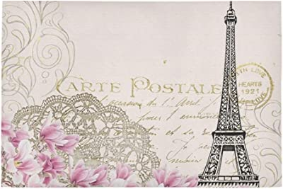 Vintage Eiffel Flower Pink Post Card Unique Debora Custom Bathroom Accessories Non-Slip Bath Mat Rug Bath Doormat Floor Rug 23.6 X 15.7 Inch