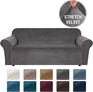 H.VERSAILTEX Stretch Velvet Sofa Covers for 3 Cushion Couch Covers Sofa Slipcovers with Non Slip Straps Underneath The Furniture, Crafted from Thick Comfy Rich Velour (Sofa 72-96, Grey)