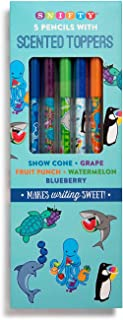 Red Co. Aquarium Themed Graphite Pencils with Scented Toppers, 5-Pack - Fruit Punch, Blueberry, Grape, Snow Cone, Watermelon