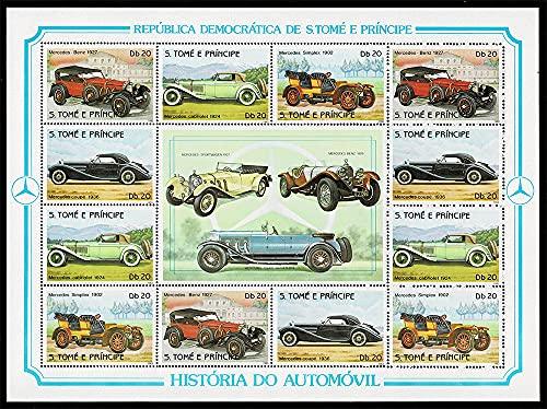 1983 S.Tomé e Príncipe storia Delle Automobili Mercedes Foglietto
