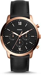 Men's Neutra Chrono Stainless Steel Quartz Watch with Leather Calfskin Strap, Black, 20 (Model: FS5381)