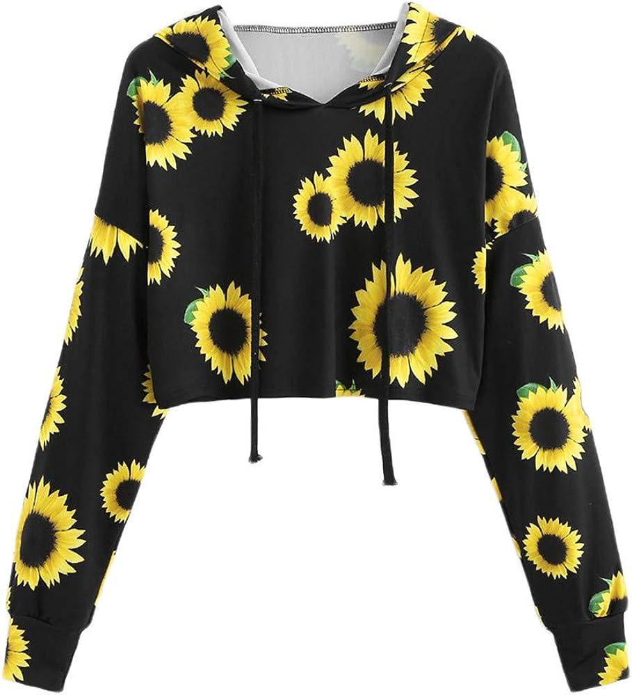 Women's Crop Tops Long Sleeves Casual Hooded Sunflower Pattern Printed Loose Pullover Hoodies Blouse Sweatshirts