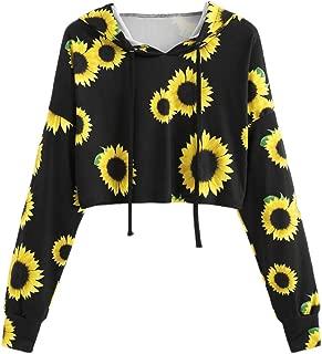Severkill Women's Sweatshirts Sunflower Print Long Sleeve Crop Top Sweatshirt Casual Hoodies with Drawstring