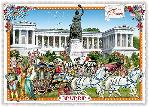 Nostalgische Ansichtskarte mit Glitzer * München Bavaria