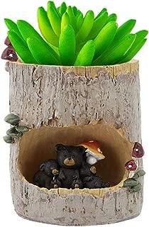 OYSIR Suculentas Planter pots Handmade Polyresin Stump pots Flower Planter Bonsai Pot for Garden Home Decoration,no Plants,Bear Family
