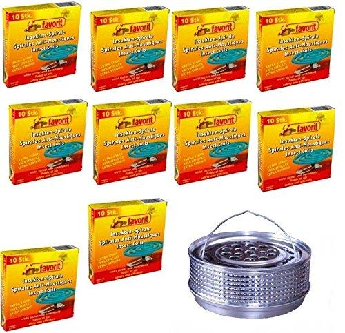 Hs24store 100 Insektenspiralen Anti Mücken Spirale und Metalltopf Metallhalter Silber