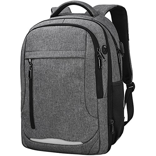 Laptop Rucksack 15,6 Notebook Rucksack Wasserdicht USB Ladeanschluss Business Backpack Damen Herren Arbeit Schule Universität Daypack Grau
