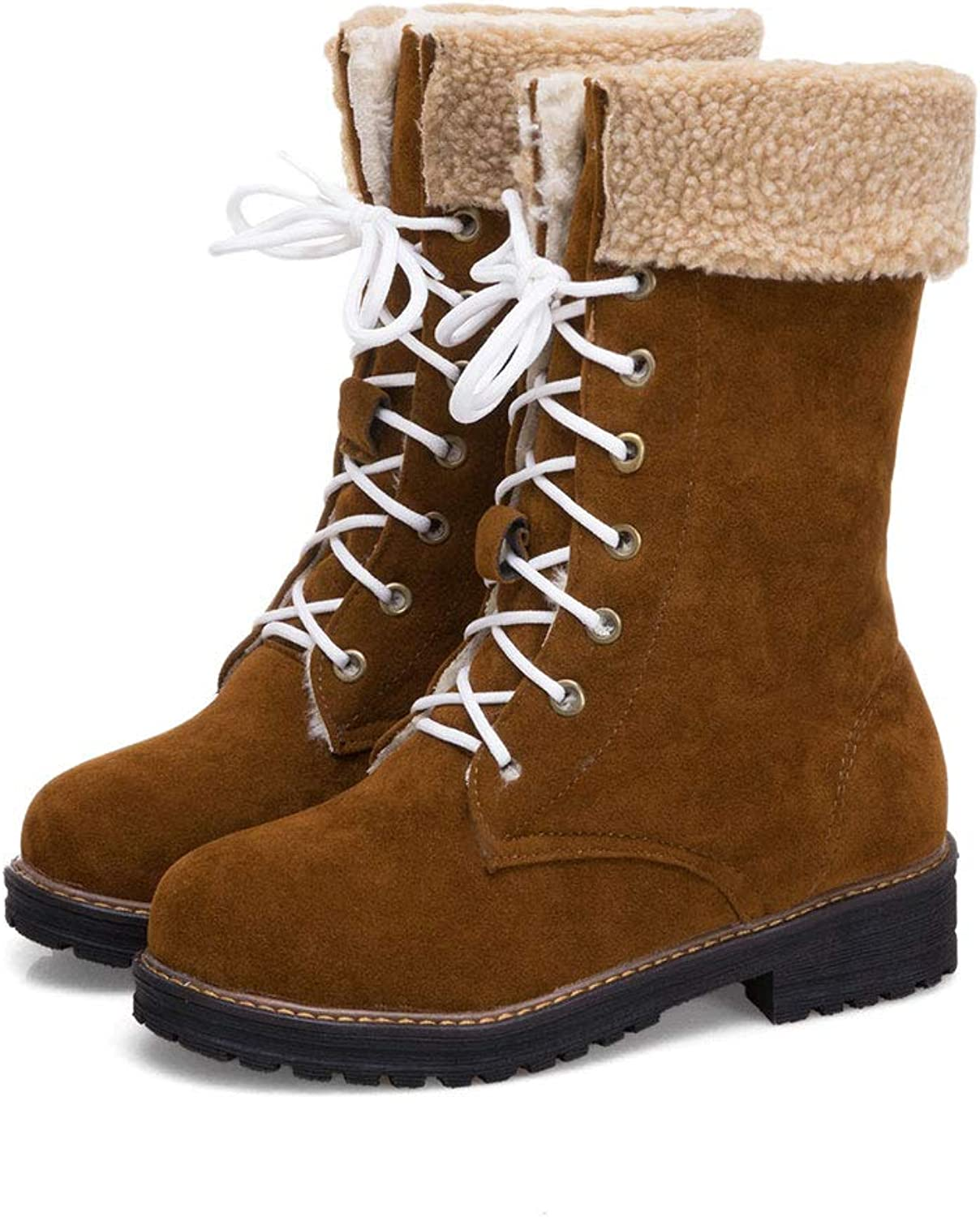 Low Heel Mid Boots, Square with Lace Short Boots Round Head Low Tube Martin Boots Waterproof Platform Knight Boots Warm Thick Ladies Cotton shoes