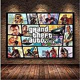 WDQFANGYI Póster del Juego Grand Theft Auto V GTA 5 Lienzo Artístico Impreso Pintura Cuadros De Pared para Decoración De Habitación Decoración del Hogar Decoración De Pared 50X70Cm (FLL7164)