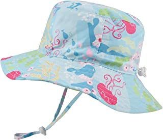 Baby Sun Hat Adjustable - Outdoor Toddler Swim Beach Pool Hat Kids UPF 50+ Wide Brim Chin Strap Summer Play Hat