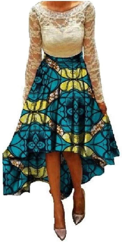Abetteric Women's Cotton PlusSize Empire Waist Dashiki African A Line Skirt