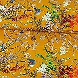 Softshell Vögel & Zweige senfgelb Modestoffe Kinderstoffe