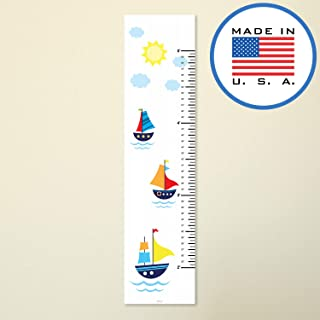 321Done Growth Chart,  Sailboats Nautical Sailing Cartoon Boats,  Baby Height Ruler,  Premium Vinyl Nursery Wall Decor