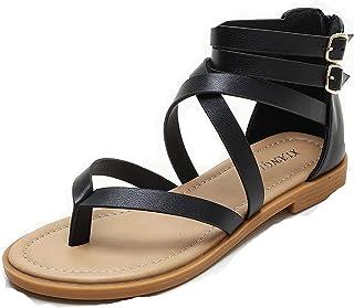 Sponsored Ad - Edgchic Women Pull On Slingback Thong Flat Sandals Clip Toe Classic Casual Walking Summer Shoes