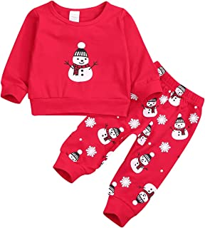 Newborn Baby Boy Girl Christmas Outfit Snowman Long Sleeve Sweater Tops+Snowman Printed Pants Outfits 2PCs Outfit Set