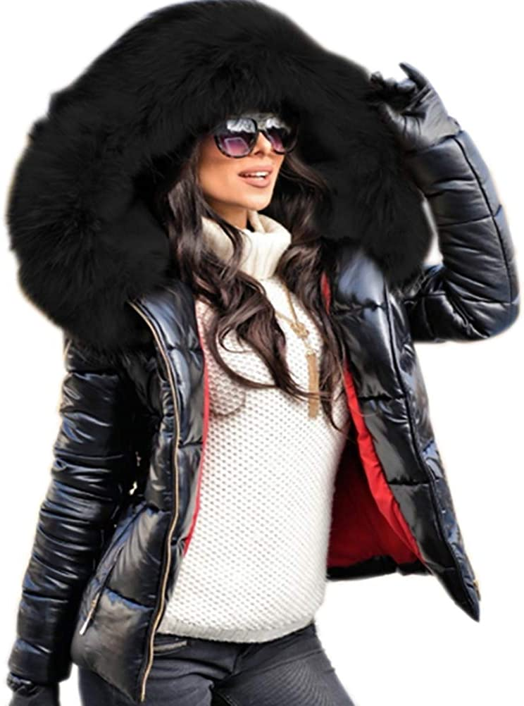 Aofur Womens Ladies Quilted Winter Coat Fur Collar Hooded Down Jacket Parka Outerwear