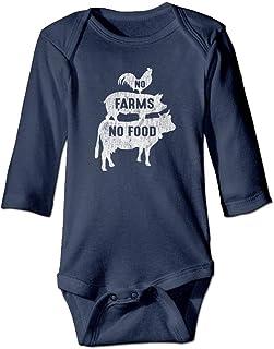 Jieaiuoo No Farms No Food Animal Unisex Baby Cotton Long-Sleeve Bodysuit Romper Tank Tops
