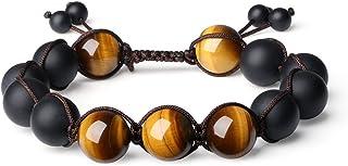 [コアイ]COAI マットオニキス 艶消しオニキス タイガーアイ 金運上昇 開運結びブレスレット 祈り腕輪数珠 メンズ 長さ調節可