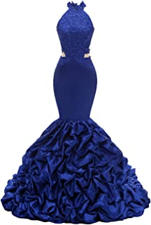 Womens Halter Mermaid Prom Dresses Long 2020 Backless Beaded Formal Evening Gown with Lace Applique