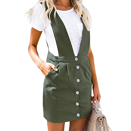 e1a2a5f241 Geckatte Womens Suspenders Pencil Skirts Button Front Casual Mini Overall  Dress Pockets