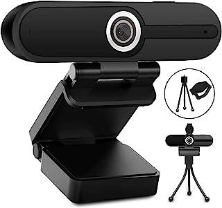 Webcam with Microphone, Web Camera Full Hd 1080P Webcam with Cover Tripod, Laptop PC Desktop Computer Camera Windows Mac O...