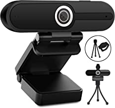 Webcam with Microphone, Web Camera Full Hd 1080P Webcam with Cover Tripod, Laptop PC Desktop Computer Camera Windows Mac O...