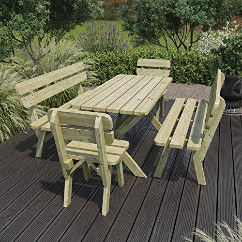 PLATAN ROOM Gartenmöbel aus Kiefernholz 120 cm / 150 cm / 170 cm breit Gartenbank Gartentisch Kiefer Holz massiv Imprägniert (Set 2 (Tisch + 2 Bänke + 2 Stühle), 170 cm) - 6