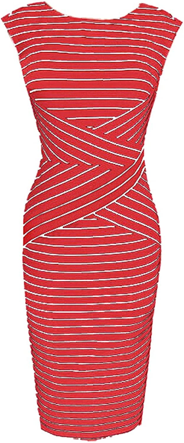 Choies Women's Mixed Stripe Sleeveless Bodycon Midi Dress