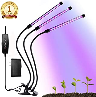 Growing Lamps, Grow Light for Indoor Plants, 3/6/12H Timing, 27W Plant Grow Lamp with 36 Red and 18 Blue LED Spectrum, 5 Dimmable Levels, 3-Head Adjustable Gooseneck Divide Control