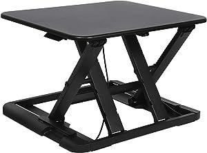 SONGMICS Sitz-Steh-Schreibtisch Steharbeitsplatz Monitorständer Laptop-Ständer, höhenverstellbar zwischen 5,8-43 cm Schwarz LSD04B
