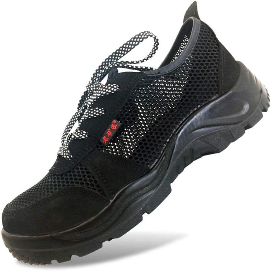 Steel Toe Shoes Men Women Lightweight Slip Resistant Work Shoes Puncture Proof Indestructible Safety Sneakers Steel Toed Tennis Shoes (Color : Black, Size : 9 US)