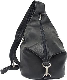 Piel Leather Three-Zip Hobo Sling, Black, One Size