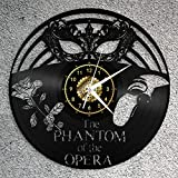 The Phantom of The Opera Vinyl Record Wall Clock Fan Art Decor Original Gift Unique Decorative Vinyl Clock Black 12' (30 cm)