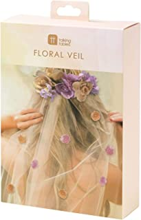 Talking Tables BG Blossom Bride To Be Bachelorette Bridal Shower Veil And Floral Headpiece, One Size, Boho