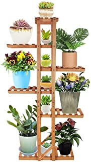 6 Tier Wood Plant Stand, Vlikeze Vertical Flower Rack Display Shelf Organizer Holder for Indoor Outdoor Garden Yard Patio ...