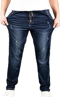 Heheja Uomo Taglia Grossa Sottile Denim Pantaloni Vita Alta Elasticità Straight Fit Jeans
