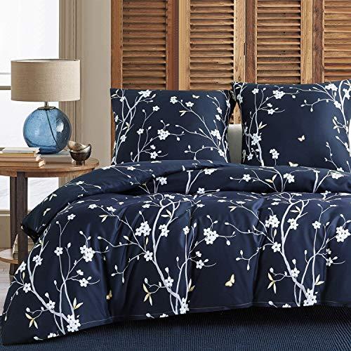 Boqingzhu Bettwäsche Blumen 135x200cm 4Teilig Marineblau Blau Weiß Bettwäsche Set mit Blumenmuster Microfaser Bettbezüge und Kissenbezüge 80x80cm mit Reißverschluss