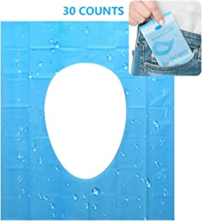 Disposable Toilet Seat Cover - 30 Counts US Size Waterproof Individually Wrapped Portable Travel Toilet Seat Covers for Public Toilets Adults Kids Toddler Potty Training, 3 Packs