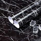 Niviy Adhesivo Papel de Mármol para Muebles de Cocina Vinilo Decoracion PVC Material Adhesivo Marmol Papel Pegatina Antifouling Resistete a Humedad y Mancha de Grasa 60X200cm Negro