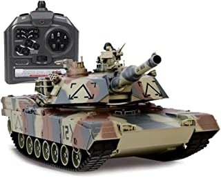 Tritow 2.4G Large Army Tank Toy, 1:24 Wireless Remote Control Military Model Remote Gift for Boys and Children Can Play Bomb Control Tank Kids Toys (Color : Green)