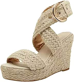 Amlaiworld Sandals for Women Fashion Casual Heels Shoes Buckle Wedges Sandals Roman Shoes