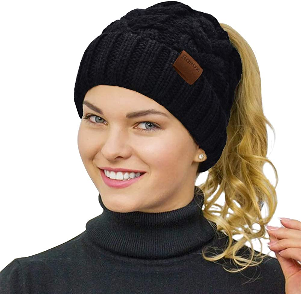 Rosoz Ponytail Beanie for Women Inventory cleanup selling sale gift Winter Str Warm Tail Soft